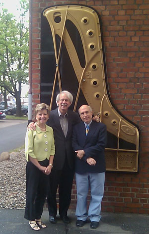 Three School of Music piano faculty, Drs Faye Adams, David Northington and David Brunnell, outside the Steinway showroom in Hamburg, Germany.